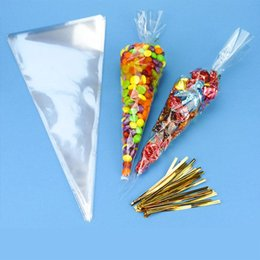 Discount sweets cones 50pcs Set DIY Wedding Birthday Party Sweet Clear Candy Cookie Cone Storage Transparent Gift Bags Decoration Triangle Shape Bag Clips