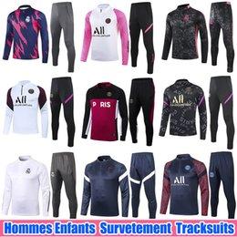 Wholesale 2021 Real Madrid Men Football Training Suits 20 21 Paris Soccer Tracksuit MBAPPE POGBA Survetement Maillots de Foot Enfants Kids Chandal Kit