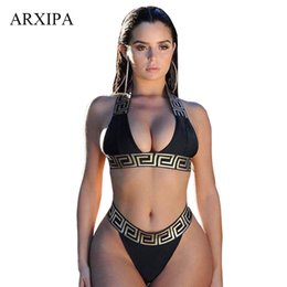 Wholesale s thongs resale online - ARXIPA Sexy Bikini Sets For Women Bandage Swimsuit Crop Top Swimwear Thong Bathing Suit High Cut Beachwear Solid Print New Bather