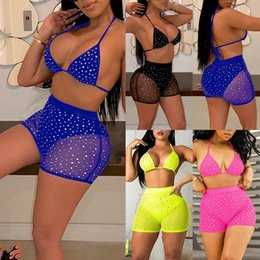 Wholesale summer bikinis crystals for sale - Group buy Women Shiny Glitters Sparkles Summer Crystal Push up High Waist Bikini Set Bathing Suit Swimsuit Two Piece Swimwear