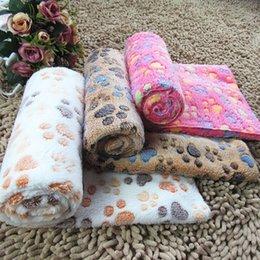 Venta al por mayor de Colorido mascota manta garra impresa gato gato kennels mantas de perro de doble cara peluche suave cálido perrito lanza mascotas para dormir alfombra de baño toalla de baño wy1293