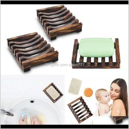 wholesale chrome accessories NZ - Natural Wooden Bamboo Soap Dish Tray Holder Storage Soap Rack Plate Box Container For Bath Shower Plate Bathroom Accessories Hddcu Dtxl7