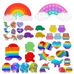 Опт Rainbow Push Pop Bubble It Fidge Sensosory Toy Toys Reverever Стресс Инструмент рельефные игрушки Тревога рельефные игрушки для детей день рождения Подарки DHL 24H