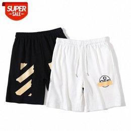 Spot tide brand OFF summer WHITE yellow arrow shorts men and women couple beach pants five points sports casual batch #OP4l