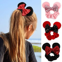 gray hair black women 2021 - Sequins Hair Bands Headband Mouse Ears Women Velvet Scrunchies Fashion Waist For Girl Headwear party cny2299