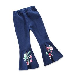 girls flared jeans UK - Girl Pant Spring And Autumn Girls Leggings Cowboy Floral Print Flared Trousers Children's Pants Style 2-6Y Jeans