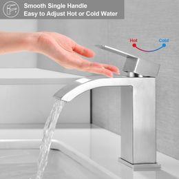 Опт Одиночная ручка водопада ванная комната тщеславия кисть финишной кран раковины с очень большим прямоугольным носиком