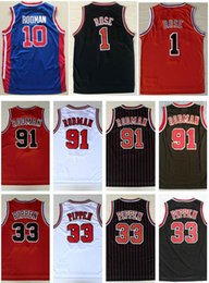 Erkek Spor Jersey Nakış 1 # Derrick Rose Jersey Solucan 91 # Dennis Rodman 33 # Scottie Pippen Jersey Kırmızı Beyaz Siyah Gömlek Dikişli