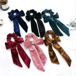 Discount hair bow tie holder Velvet Hairband Bowknot Girl Hair Scrunchies Scarf Elastic Hair Bands Bow Ties Rope Ponytail Holder Hair Accessories 6 Colors DW5456