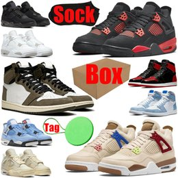 With Box&Tag&Socks 1s 4s basketball shoes for mens womens jumpman 1 4 Cactus Jack Red Thunder Where The Wild Things Bred Patent Fragment men trainers sports sneakers