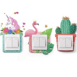 Ingrosso Switch Sticker Adesivo Soft Colla Luminoso Unicorno 3D Stereo Wall Stickers Presa Cover protettiva Semplice decorativo confezionato singolarmente