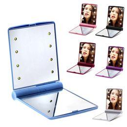 Wholesale LED Makeup Mirror Cosmetic 8 LEDs Folding Portable Square Cosmetics Pocket Mirrors for Women Girl Mini Beauty Makeup-Tool WLL466