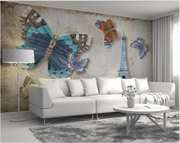 tower wallpapers UK - Custom Po Wallpaper For Walls 3 D Cartoons Murals Modern Nostalgic Retro Butterfly Paris Tower Background Wall Mural Decor Wallpapers