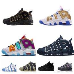 Wholesale Mens scottie pippen air more uptempos 95 QS P basketball shoes Kids What the lebron 18 Black Gold White Agimat blue UNC sneakers tennis