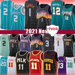 Devin Trae 1 Booker Chris Young Paul Baloncesto Jersey JA Lamelo Morant Steve Ball Nash Atlanta Phoenix Hawks Suns Memphis Charlotte Grizzlies Deandre Hornets Ayton en venta