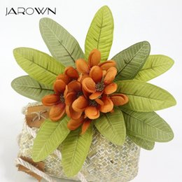 wholesale artificial magnolia flowers UK - Artificial Plumeria Fake Flowers Simulation Silk Magnolia Flower Branch For Wedding Decor Home Party Decoration Decorative & Wreaths
