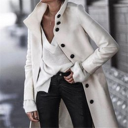 Discount woolen coat women high collar Women's Large Coats Fashion Woolen Long Solid Color Women High Quality Winter Coat Cardigan Elegant Wool & Blends