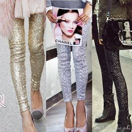 Wholesale gold sequin trousers for sale - Group buy Streetwear Sequin Women Leggings Hot Calca Feminina Punk Bling Trousers Shining Gold Black Silver Spangle Formal Pants