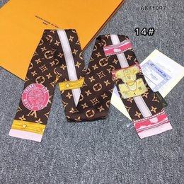 ryhfsdh new double-layer main silk ribbon design printed women's silk scarves fashion headscarf brand handbag ribbon small long scarf 7*100cm on Sale