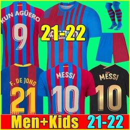 Venta al por mayor de 21 22 camiseta de fútbol del FC Barcelona BARCA KUN AGUERO MESSI 2021 2022 ANSU FATI GRIEZMANN F.DE JONG DEST COUNTINHO camiseta de fútbol kit hombres + niños conjuntos calcetines