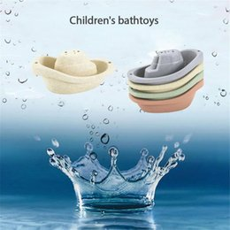 Wholesale house boats for sale - Group buy Children s bathroom floating boat bath toy bathtub swimming and playing in water straw material Classic Toys for Children Gift L0323