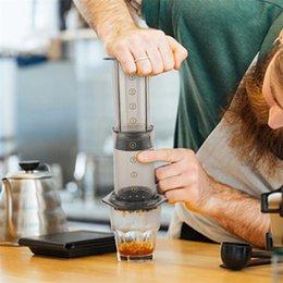 Venta al por mayor de 350 ml NUEVO Filtro de cristal Espresso Cafetera Cafetera portátil Café Francés Prensa Cafecoffee Pot para Aeropress Machine 372 V2