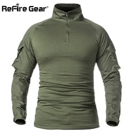 swat tactical shirts Australia - ReFire Gear Men Army Tactical T shirt SWAT Soldiers Military Combat T-Shirt Long Sleeve Camouflage Shirts Paintball T Shirts 5XL 210319