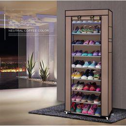 Cabinet ménager de rack non tissé 10 couches 9 grille grande capacité de rangement de chaussures de chaussure café avec couvercle en Solde