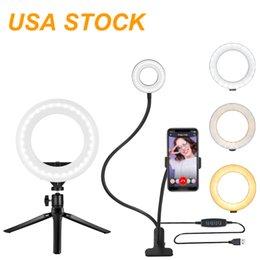 """6 """"LED Ringlicht mit Desktop-Stand-Handyhalter, USB-Konferenzbeleuchtung CRI90-Farbtemperatur 3000K bis 6000K für Live-Stream / Make-up / Zoom-Anruf (schwarz) im Angebot"""