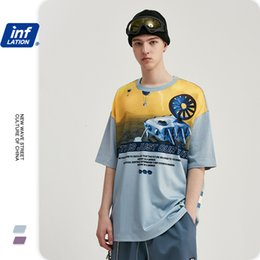 Wholesale alien clothing for sale - Group buy Clothing Inf Spring and Summer Fashion Brand Splicing Alien Explorer Printing Raglan Loose Men s Short Sleeve T shirt