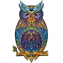 Discount wholesale wooden adult puzzles A4 Wooden Puzzle Jigsaw Unique Shape Jigsaw Pieces Charming Owl Wooden Jigsaw Puzzle Best Gift for Adults and Kids
