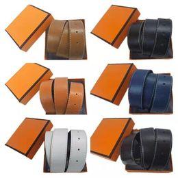 Wholesale Betls 2021 Mens Womens Designer Belt Genuine Cowhide Leather black Gold+silver Buckle Size 105-125CM with orange Box Free ship