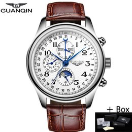 moon calendar dates UK - Guanqin Automatic Sapphire Mechanical Men Watches Top Brand Luxury Waterproof Date Calendar Leather Polish Clock Relogio Masculino