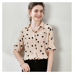 silk bats Canada - blouses Design Sense Dot Prints Shirt Loose Bat Sleeve Lapel Silk Top 2021 Fashion Style
