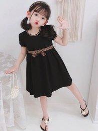 Luxury Baby girls dress kids letter F bowknot Summer short sleeve children casual designer clothing on Sale