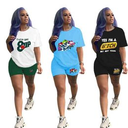 sweat outfits women UK - Tiktok Designers women Two Piece Clothing set Summer T-shirt Shorts Sporttswear Tracksuit sweat suit Short Sleeve Outfits Brands Sportwear Clothes SALE G4IKPYS
