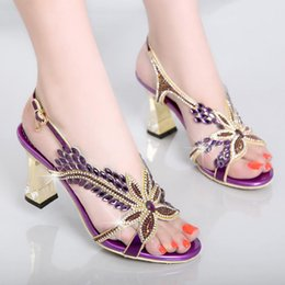 wedding dress rome UK - Han 2021 Sexy Banquet Shoes Sandals Edition Female Summer With Sandals Crystal New Auger Set High-heeled Wedding Rome Shoes Aaduj