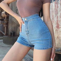 Wholesale women skinny leg tights resale online - Large Size Sexy Denim Shorts Girl New High Waist Thin Skinny Hips Stretch Leg Length Tight Stretch Hips Jeans Women
