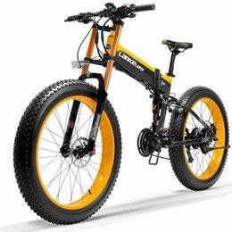T750Plus Snow Bike 1000W Folding Electric Sand Bike, 48V High Performance Li-ion Battery,5 Level Pedal Assist Sensor Fat Bike