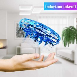 Wholesale Mini Helicopter UFO RC Drone Infraed Hand Sensing Aircraft Electronic Model Quadcopter flayaball Small drohne Toys For Children 210325