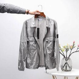 Toptan satış Erkekler Ceket Bahar Yaz Mont Adam Moda Üst Sokak Stil Ins Erkek Trençkot Palto Siyah Gri Renk Degrade Rahat Fermuar 2021 Yüksek Kalite