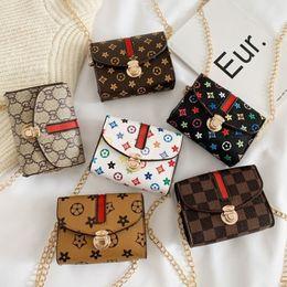 Barnväska Mode Designer Print Mini Square Vacker Pop Girl Princess Messenger Bags Tillbehör Purse Plånbok Handväska G31908