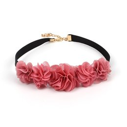 hot pink choker necklace NZ - Hot jewelry Choker Lace Pink Rose collar short clavicle chain