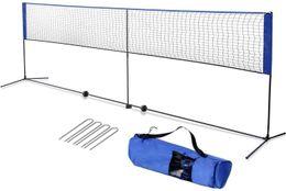 amzdeal Badminton Net Backyard 17ft for Badminton, Indoor Outdoor Court, with Steel Frame, Hooks, Adjustable Height (No Rackets)