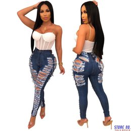 club jeans for women NZ - Sexy Ripped Jeans For Women Fashion Casual Club Hole Denim Pants Femme Bodycon Hollow Out Pencil Long Jeans Vestidos