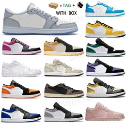 Wholesale glitter fabric color resale online - 2021 men women Tag s Low Basketball Shoes UNC Paris Sneakers jumpman Game Royal Gym Red Banned grey black sail toe GS Tri color washed denim Trainers sgdf