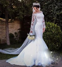 Discount wedding dress satin detachable train Arabic Mermaid Wedding Dresses with Detachable Train Long Sleeves Off Shoulder Bow Belt Lace Tulle 2018 Modest Bridal Gowns Custom Size