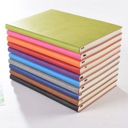 Vente en gros Haute Qualité A5 Simple Classic Solid Notepads Soft Cuir PU Journal Notebooks Daily Schedule Mémo Sketchbook Home School Office Fournitures Cadeaux 10 Couleur