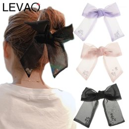 hair bows nets UK - Levao Lace Pearl Hairpin Solid Color Net Yarn Bow Hair Clips Girls Headwear Bowknot Hairpins For Women Accessories1