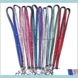 rhinestone neck lanyard for id UK - Candy Colors Rhinestone Neck Strap Crystal Lanyard With Metal Clip Multi Color Diamond Lanyard For Cell Phone Id Card 7Fqzg O7Zus